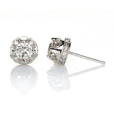 0.95 CT. T.W. Diamond Stud Plus Earrings in 14K White Gold (H-I, I1)
