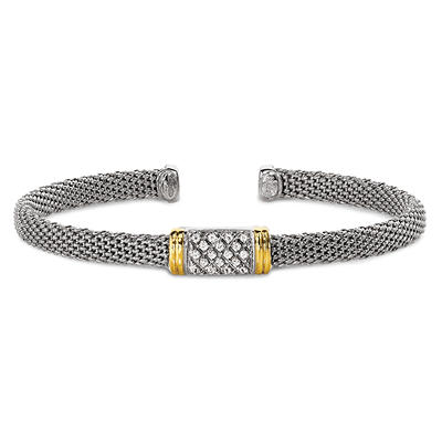 0.12 CT.T.W. Diamond Bangle Bracelet in Sterling Silver and 14K Yellow Gold (I, I1)