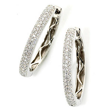 0.96 CT. T.W. Pave Diamond Oval Hoop Earrings in 14K White Gold (H-I, I1)