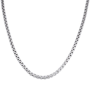 "Gent's Sterling Silver 22"" Box Link Chain Necklace"