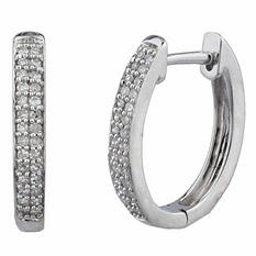.25 CT T.W. Diamond Double-row Hoop Earrings in 14K White Gold (Appraisal Value: $570)
