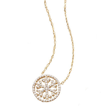 0.15 CT. T.W. Diamond Snowflake Pendant in 14K Yellow Gold (IGI Appraisal Value: $585.00)