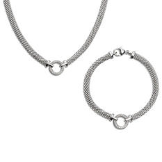 0.23 CT. T.W. Mesh Circle Necklace and Bracelet Set in Sterling Silver (H-I, I1)
