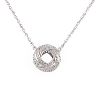 "Love Knot Pendant with Diamonds and 18"" Adjustable Chain In Sterling Silver (IGI Appraisal Value: $230)"