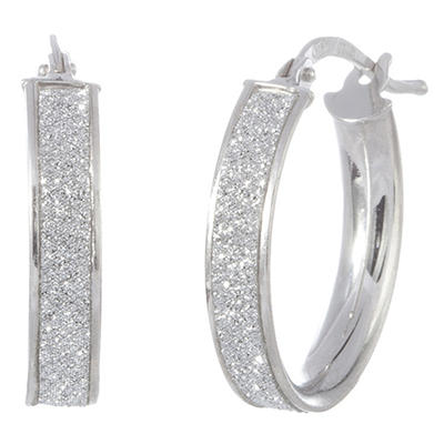 Italian Hoop Glitter Earrings in 14K White Gold (IGI Appraisal Value: $210)