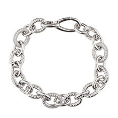 Italian Link Bracelet with Diamonds In Sterling Silver (IGI Appraisal Value: $495)