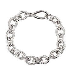 Italian Link Bracelet with Diamonds In Sterling Silver (IGI Appraisal Value: $495)