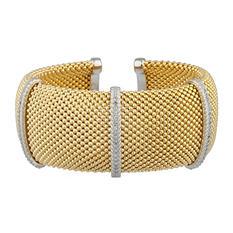 .49 ct. t.w. 3-Station Diamond Vermeil Mesh Cuff Bracelet