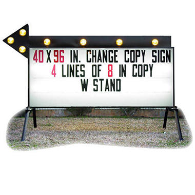 "Portable Business Sign with Flashing Arrow - 40"" x 96"""