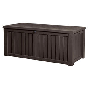 Keter Rockwood Outdoor Plastic Deck Storage Container Box 150 Gal, Brown