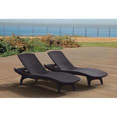 Keter Rattan Chaise Lounge - 2 pk. Grey