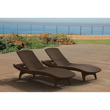 Keter 2 pack adjustable chaise lounge all weather outdoor for Brown chaise lounge outdoor
