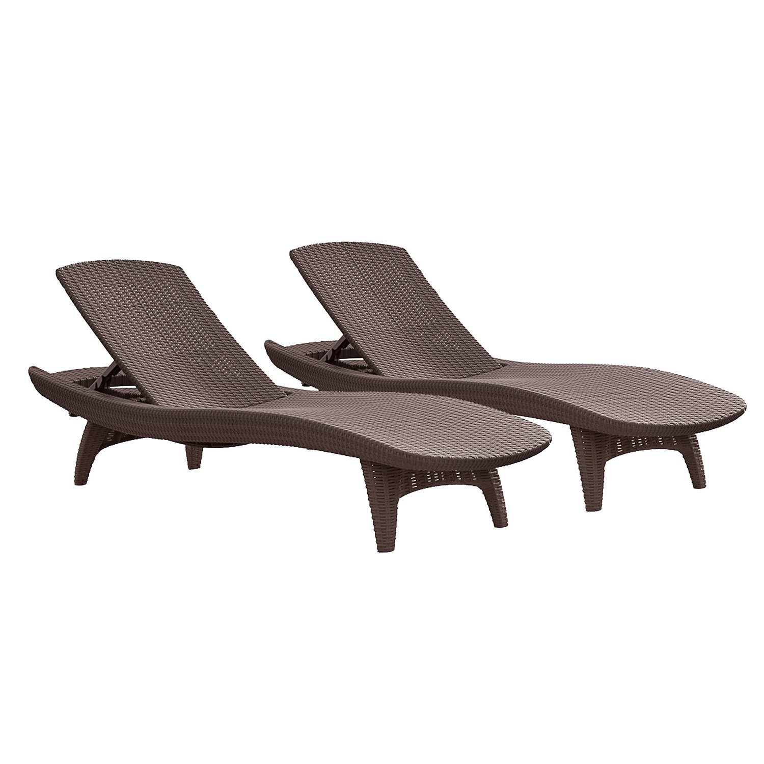 Rattan Chaise Lounge Brown Chair Pool Patio Deck Outdoor Furniture Set 2 Pk N