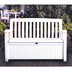 Patio Storage Bench, White
