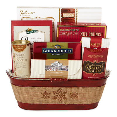 Burlap Oval Red Gift Basket