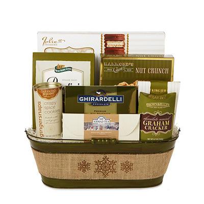 Burlap Oval Olive Green Gift Basket