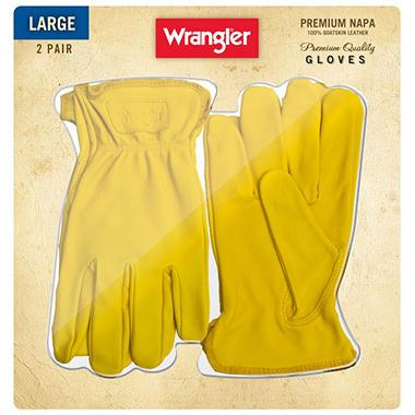 Wrangler Napa Leather Gloves - 2 Pair - Large