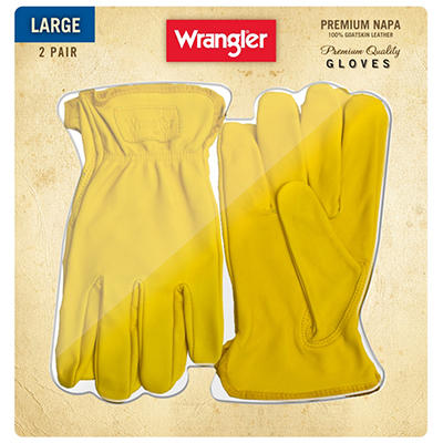 Wrangler Napa Leather Gloves - 2 Pair - Large