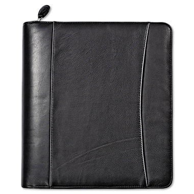 FranklinCovey - Nappa Leather Ring Bound Organizer w/Zipper, 5-1/2 x 8-1/2 - Black