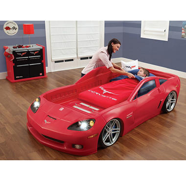 Step2 Corvette Toddler-to-Twin Bed with Lights?, Dresser & Toy Storage Bins Room Organizer