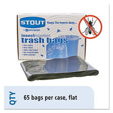 Stout - Insect-Repellent Trash Garbage Bags, 45gal, 2mil, 40 x 45, Black -  65/Box
