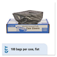Stout - 100% Recycled Plastic Garbage Bags, 20-30gal, 1.3mil, 3 x 39, Brown -  100/Carton