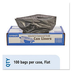 Stout - 100% Recycled Plastic Garbage Bags, 40-45gal, 1.5mil, 40 x 48, Brown -  100/Carton