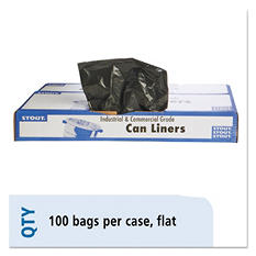 Stout - 100% Recycled Plastic Garbage Bags, 55-60gal, 1.5mil, 38x 60, Brown -  100/Carton