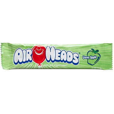 Airheads Green Apple Flavored Candy - 0.55 oz. Bar - 36 ct.