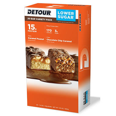 Detour Lower Sugar Protein Bar - Variety Pack ? 1.5 oz. - 20 ct.