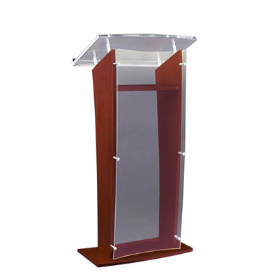 Amplivox Wood and Clear Acrylic Floor Lectern, Select Color