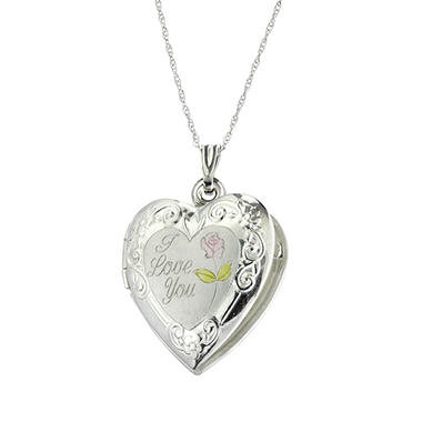 "18"" ""I Love You"" Locket in 14K White Gold"