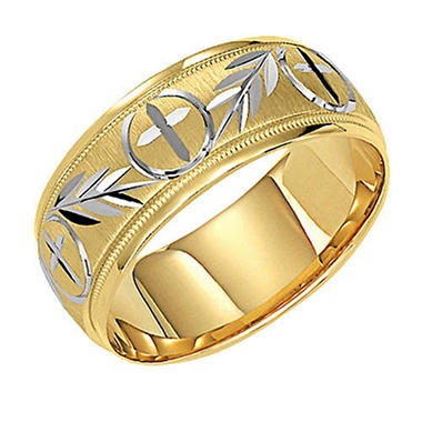 14K Yellow 7.5mm Cross Wedding Band