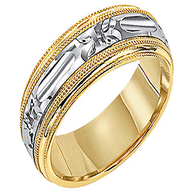 14K 6.5mm Two-Tone Gold Comfort-fit Wedding Band