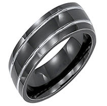 Click here for Black & Grey Titanium Comfort-Fit Band - 7mm 11 prices