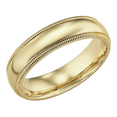 14K Yellow Gold 5mm Comfort-fit Milgrain Band