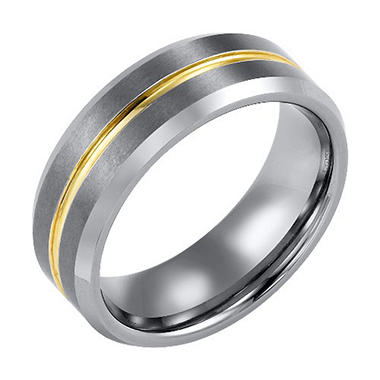 Tungsten Carbide 8mm Wedding Band with Yellow Stripe