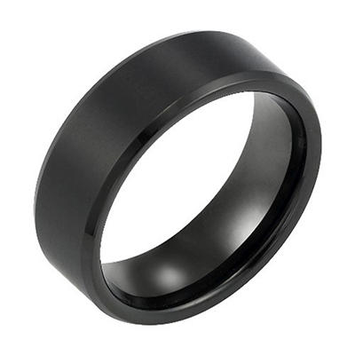 Tungsten Carbide 8mm Black Comfort Fit Band