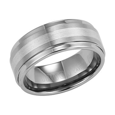 Tungsten Carbide & Platinum 9mm Comfort-Fit Band