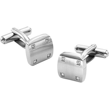 .04 ct. t.w. Diamond-Accented Stainless Steel Cuff Links (I, I1)