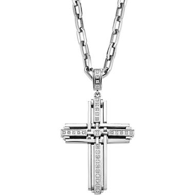 .29 ct. t.w. Diamond and Stainless Steel Cross Pendant (I, I1)