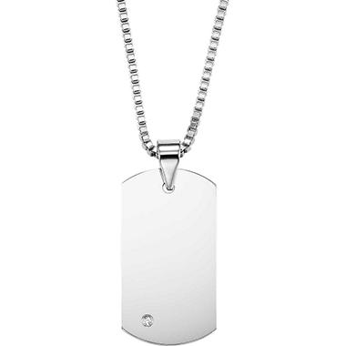 .04 ct. t.w. Tungsten Carbide and Diamond Dog Tag Pendant (I, I1)