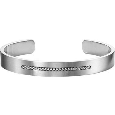 Stainless Steel & Sterling Silver Cuff Bracelet