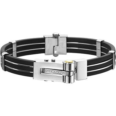 .04 ct. t.w. Diamond, Stainless Steel & Black Rubber Bracelet (I, I1)