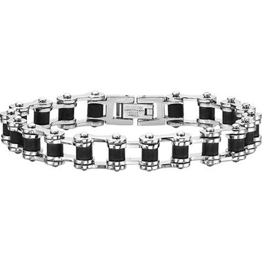 Stainless Steel & Black Rubber Bicycle Bracelet