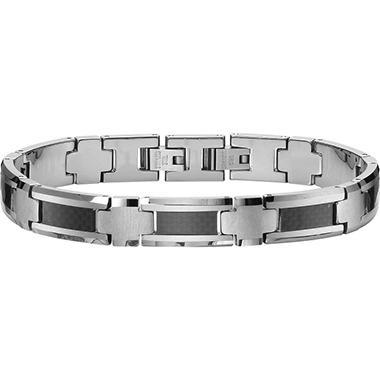 Tungsten Carbide & Black Carbon Fiber Bracelet