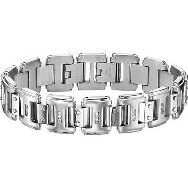 .23 ct. t.w. Diamond and Stainless Steel Bracelet (I, I1)