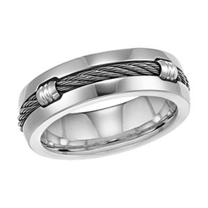 Titanium Cable Comfort-Fit Wedding Band - 7mm