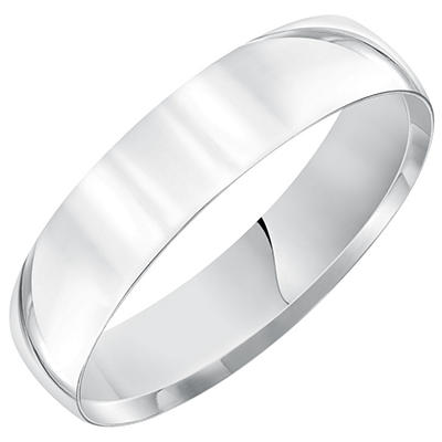 5mm White Gold Comfort Fit Band in 14K White Gold