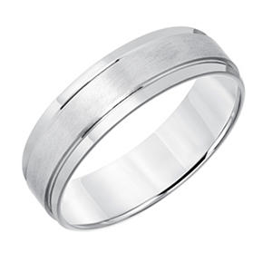 6mm Comfort Fit Brushed Finish Wedding Band in 14K White Gold
